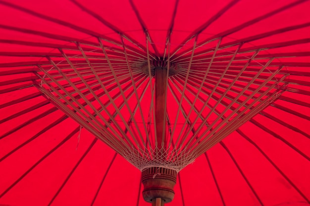 Red umbrella bamboo structure
