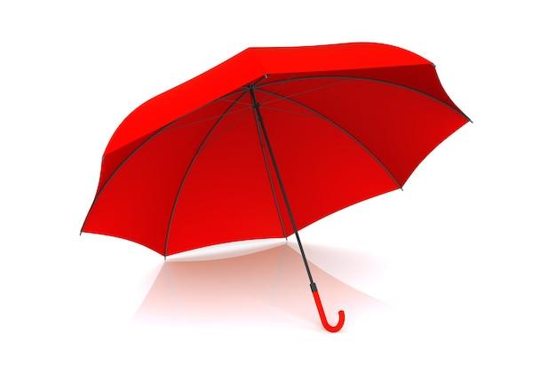 Красный зонтик, изолированные на белом фоне