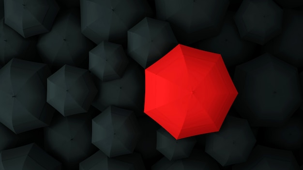 Red umbrella on the of many black umbrellas. 3d illustration.