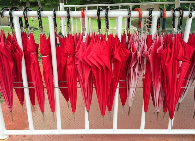 Red umbrellas hanging on the row