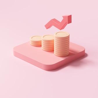 Красная стрелка вверх и стеки монет на розовом фоне. финансовый успех и концепция роста. 3d визуализация иллюстрации