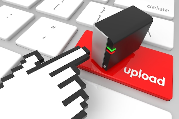 Красный клавиша ввода загрузки с курсором в виде руки. 3d рендеринг