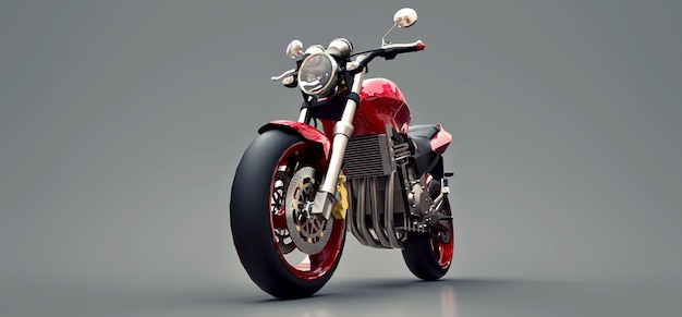 Red urban sport two seater motorcycle on a gray  . 3d illustration.