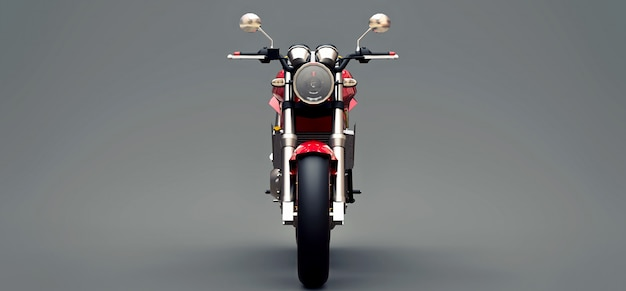 Red urban sport two-seater motorcycle on a gray background. 3d illustration.