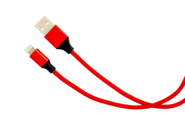 Red usb cable for smartphone isolated on white