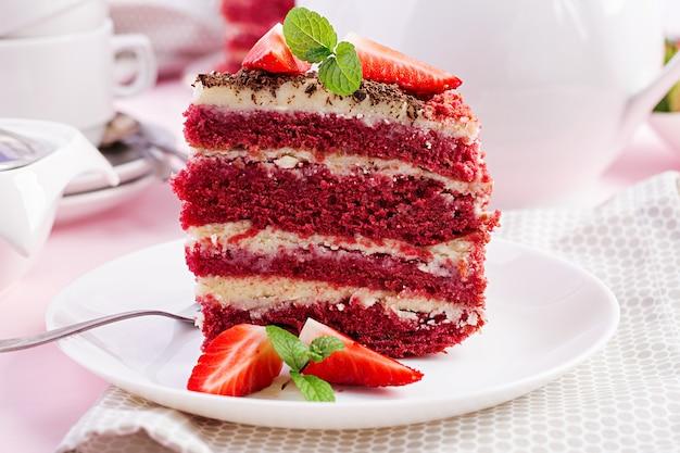 Red velvet cake on pink. tea drinking.