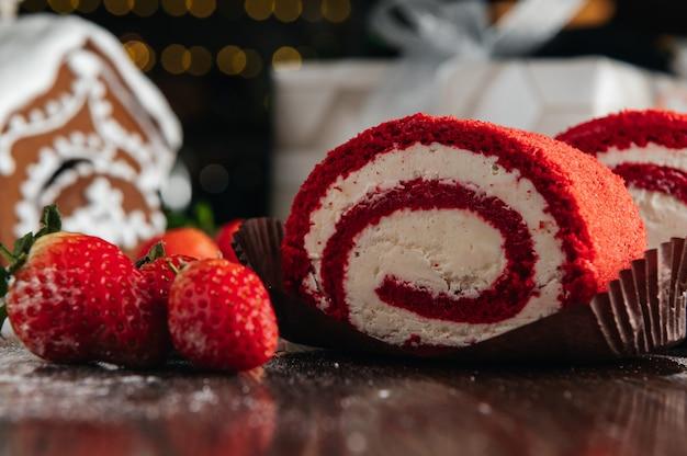 Red velvet cake roll with strawberry