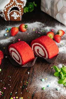 Red velvet cake roll with strawberry