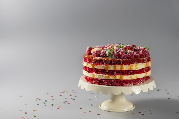Red velvet cake with fresh berries
