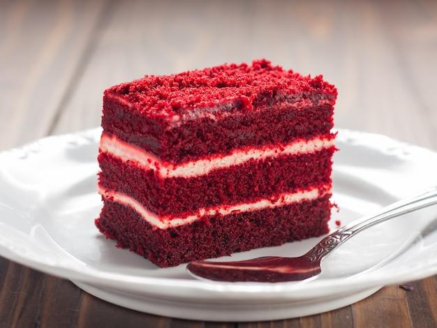 Red velvet cake on wooden board