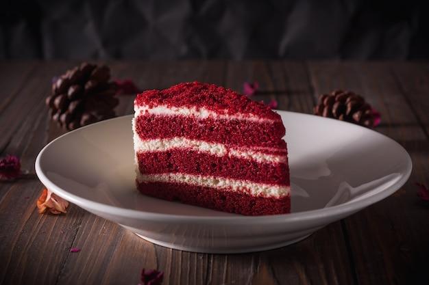 Red velvet cake on wooden board