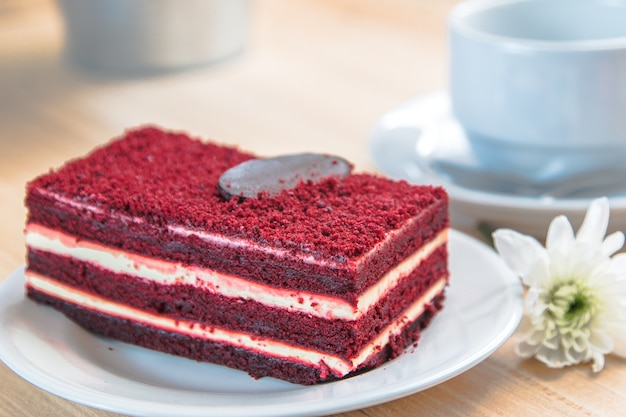 Red velvet cheese cake and dark chocolate on top