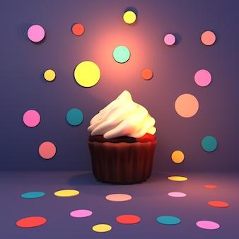 カラフルな水玉模様の背景の3dレンダリングされた画像に赤いベルベットのカップケーキ