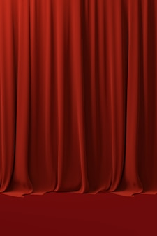 Red velvet curtain backdrop. 3d rendering