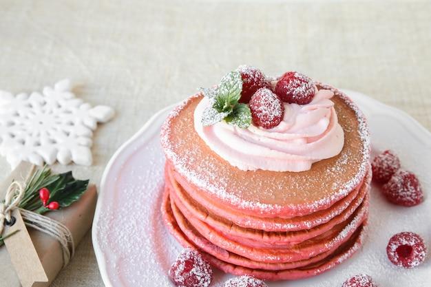 Red velvet pancakes breakfast with christmas decoration