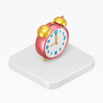 Red vintage alarm clock icon in 3d rendering interface ui ux element
