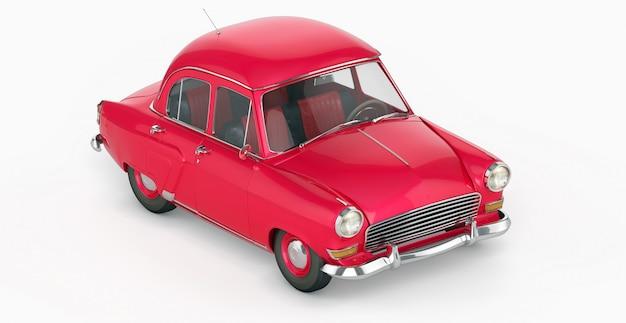 赤いヴィンテージのおもちゃの車の側面図