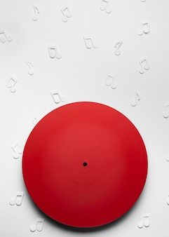 Red vinyl with musical notes
