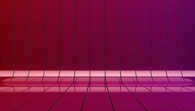 Red and violet ribbons background illustration. background stage as template for your showcase.
