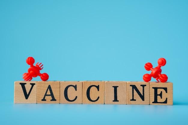 파란색 배경에 '백신'이라는 단어가 있는 나무 큐브가 있는 빨간색 바이러스.