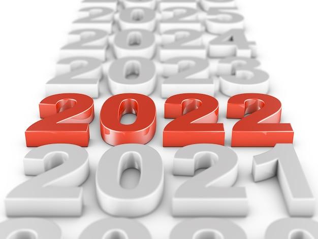 Красные объемные фигуры 2022 года на белом фоне. 3d-рендеринг.