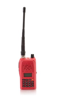 Red walkie talkie isolated on white background with clipping path.