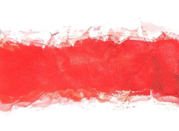 赤い水彩の背景、手塗り