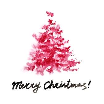 Красная акварель рождественская елка, изолированные на белом фоне