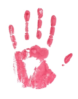 Red watercolor hand print on white background.