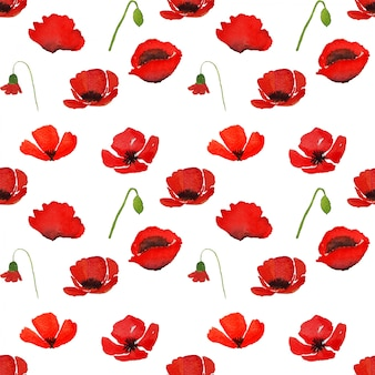 Red watercolor poppy flowers with clipping path in seamless pattern on white.