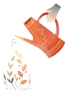 Красная лейка ростки растений резиновые перчатки акварельная открытка иллюстрация садоводства