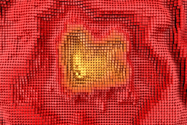 Red wave pixel background noise pattern