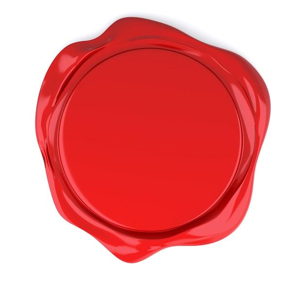 Красная сургучная печать, изолированные на белом. 3d-рендеринг