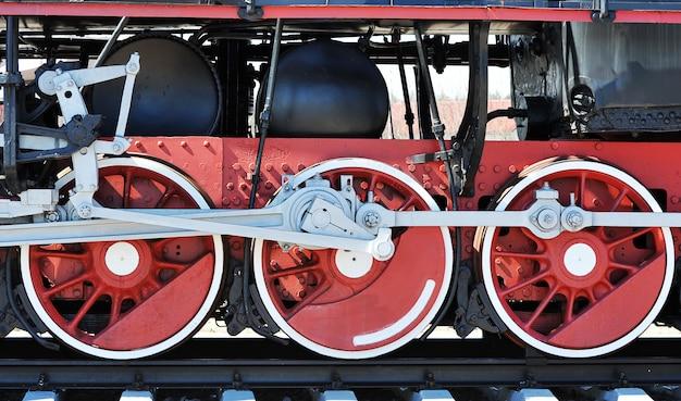 Red wheels of old steam locomotive