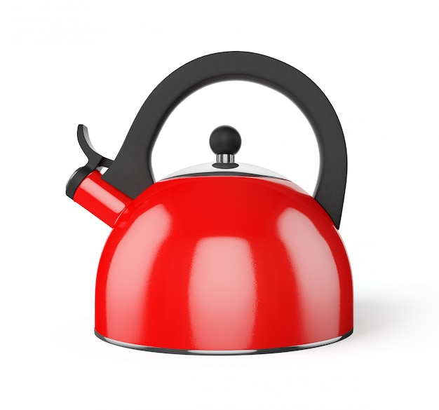 Red whistle kettle isolated