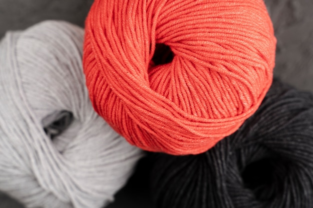 Red, white and black wool yarn
