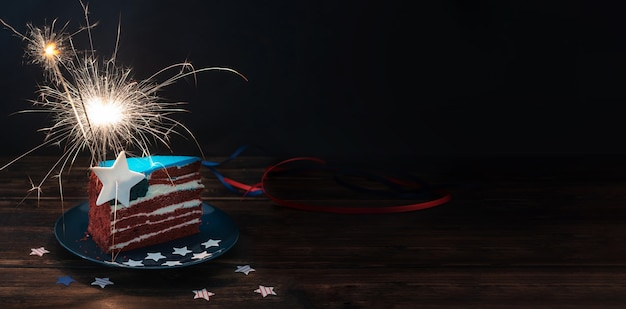 Red white and blue cake like usa flag for independence day or usa theme party food, 4th of july concept, bunner, close up.