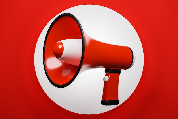 Red and white cartoon loudspeaker on a red monochrome background. 3d illustration of a megaphone.