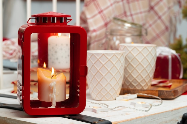 Red and white christmas candles interior decoration