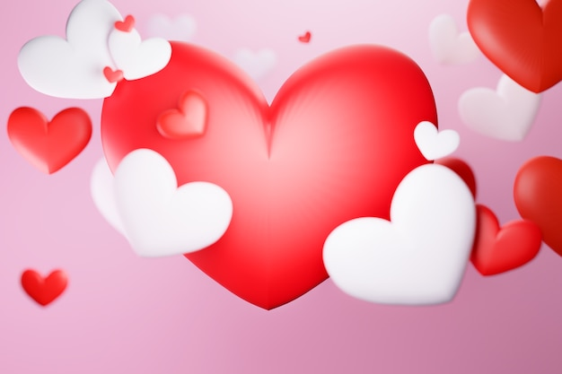 Red and white heart valentine background, 3d illustrations rendering