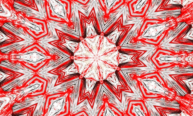 Red and white kaleidoscope star and cross with grey glowing edges.