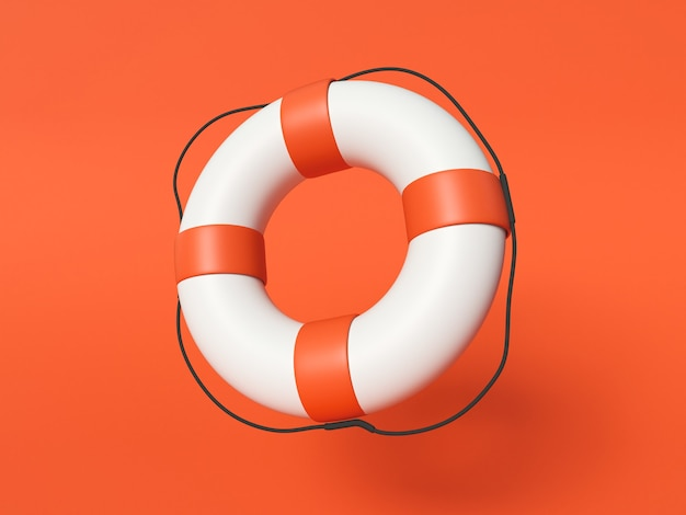 . red and white lifebuoy ring on red background.