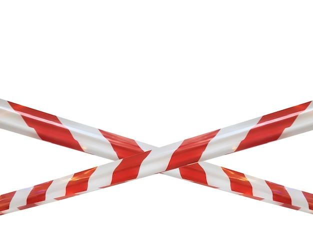 Red and white lines of barrier cross tape prohibit passage. barrier tape on white isolate. barrier that prohibits traffic. danger unsafe area warning tape do not enter. concept no entry. copy space