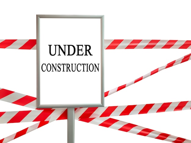 Red and white lines of barrier tape on white isolate and frame with under construction text inscription. pass is forbidden, security tape. signal tape that prohibits entry to the object. copyspace