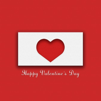 Red and white postcard for valentine's day
