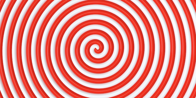 Red white round abstract spiral background spiral in retro pop art style