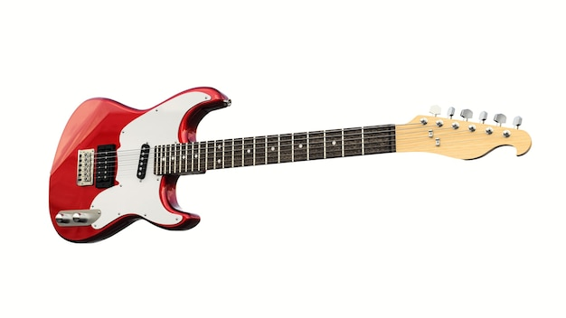 Red and white six-string electric guitar on a white isolated background. 3d rendering.