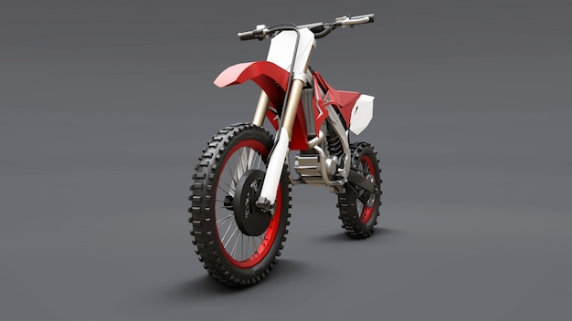 Red and white sport bike for cross-country on a gray background. racing sportbike. modern supercross motocross dirt bike. 3d rendering.