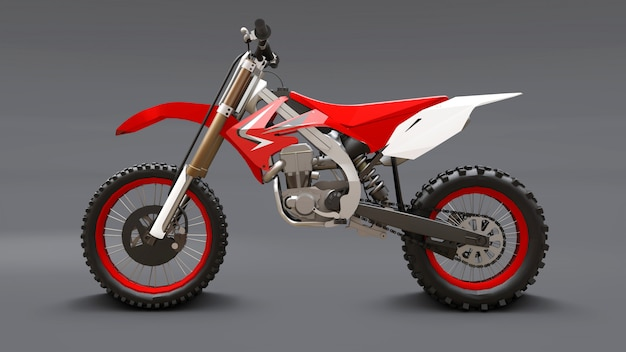 Red and white sport bike for cross-country on gray
