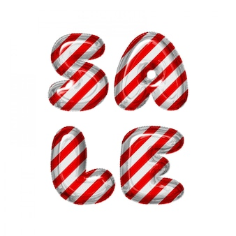 Red and white striped letter balloons sale on white